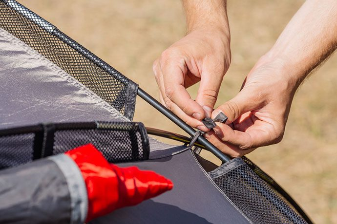 how to stake a tent on rock